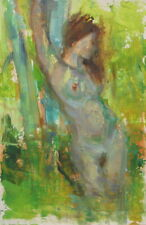 FEMALE NUDE OUTDOORS Palette Knife Plein Air Impressionist Oil Painting Abstract