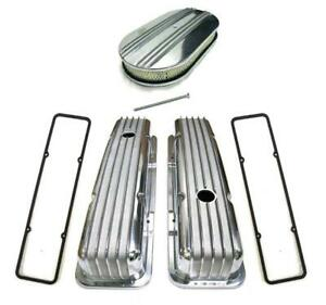 """Small Block Chevy Polished Aluminum Finned Valve Covers + 15"""" Air Cleaner Gasket"""
