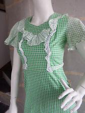 Robe Bohème Paysanne Vintage Carreaux Vert Blanc Broderie Anglaise T. XS S