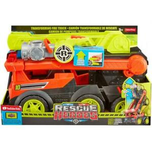 Fisher-Price Rescue Heroes Transforming Red Fire Truck w/ Lights & Sounds Age 3+