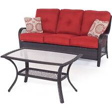 New listing Patio Chat Set Garden Furniture Glass Coffee Table Outdoor Yard Loveseat