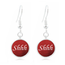 Snarky Librarian glass Frea Earrings Art Photo Tibet silver Earring Jewelry #214