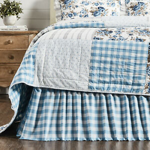 VHC Brands Farmhouse Queen Bed Skirt Blue Gathered Annie Buffalo Bedroom Decor