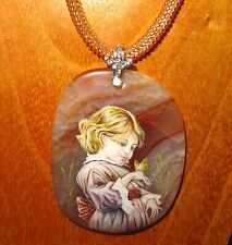 Pendant Frederick Morgan GIRL & The Butterfly Genuine Hand painted NATURAL STONE