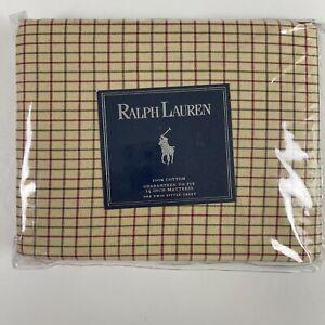 Ralph Lauren Twin Fitted Sheet Bramble Tattersal Deep Pocket Cotton NEW