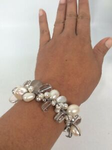 Silpada  Sterling silver 925  Freshwater Pearl Quartz Toggle Charms Bracelet