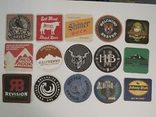 15 Cool Beer Coasters ~ Black Raven,Shiner,Red Hook,Stone,Hellbent,Fremont,Ram +