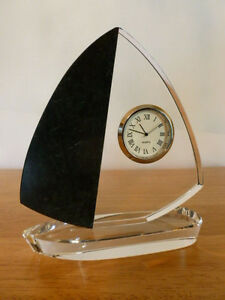 Gorgeous Crystal & Marble Sail Boat Desk Clock. New Battery! Pls. read details.