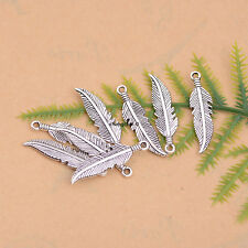 Tibetan Silver Feather Leaves Charm Bracelet Pendant Jewelry Findings #133