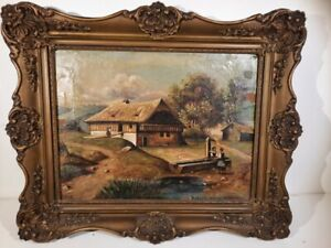 Pair of Antique  Austrian 1818 Signed oil painting on canvas in gilded frames
