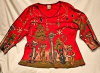 Jess & Jane Meow Christmas Knit Cotton Top Shirt Size Large