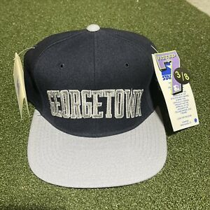 Starter Georgetown Hoyas Hat 7 3/8 Fitted Blue Gray Arch Wool Spellout Logo Cap