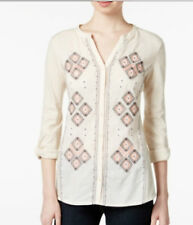 Style & Co. Peasant Knit To Woven Top Blouse Tunic Shirt Boho OATMEAL Size Large