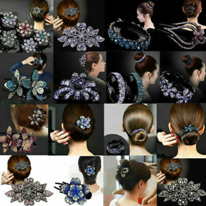 Women's Crystal Rhinestone Bridal Hair Clips Claw Clamp Hairpin Ponytail Holder