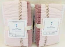 NEW Pottery Barn Kids Nicki Quilted Euro Shams Luster Velvet Shimmer Rare Set/2