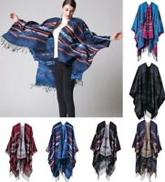 Women Winter Knitted Coat Sweater Cashmere Poncho Capes Shawl Cardigans Scarf