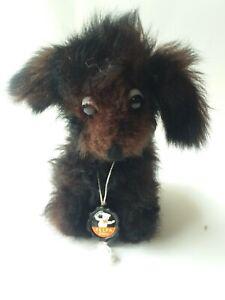 """Vintage FELPA  Dog Toy,Real Fur,Glass Eyes,Label,7"""",ZURICH SWITZERLAND"""