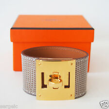 RARE New Authentic HERMES Kelly Dog Shiny Lizard bracelet Ficelle GHW  Neutral