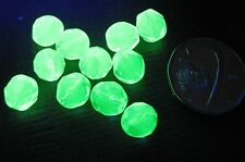 Fire polished faceted round bead 8mm, URANIUM Green Vaseline Crystal (20pcs)