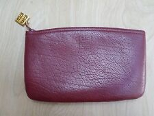 GIVENCHY true vintage red leather cosmetics accessories zipper pouch bag 7""
