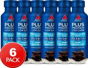 6 x Atkins Plus Protein Shake Dark Chocolate 400mL