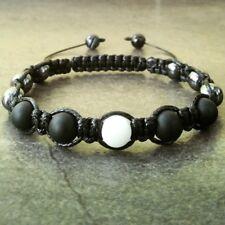 Men's beaded shamballa bracelet Agate Onyx stone wristband cuff bead jewelry