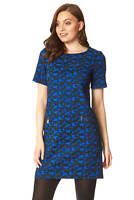 Roman Originals Women Abstract Textured Print Zip Detail Dress