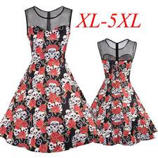 Ladies Halloween Skater Sleeveless Short Skull Rose Gothic Dress Plus Size 16-24