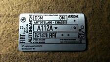 Typenschild id-plate Chassis FIAT autobianchi 112 A112A Schild S53
