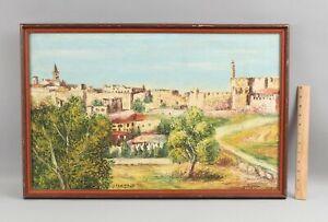 Large Vintage Signed JERUSALEM Jewish City Oil Painting, No Reserve!