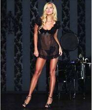 La vendita bellissimo set glamour in pizzo velato nero babydoll tanga cuore Leg Avenue S/M