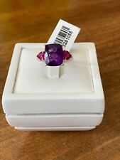 Amethyst & Ruby Platinum Overlay Sterling Silver Ring Size P
