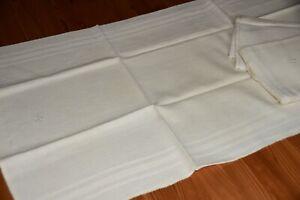 3 Stück Alte Leinen Handtücher Küchentücher Tischläufer Monogramm ca. 105 x 43cm