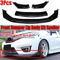 3PCs Glossy Front Bumper Lip Body Kit Spoiler Splitter For Honda Fit Jazz 14-17