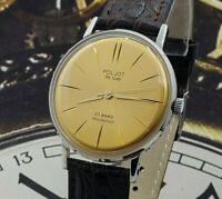 Poljot De Luxe ULTRA SLIM Gold Dial Dress Men's WristWatch Vintage Style USSR