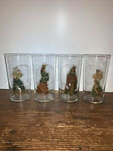 vintage 40-50's cantina girls peek a boo glasses. set of 4. no chips.