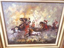 Large John Hays Artist Oil Painting On Canvas Southwest Bull Hunt On Horseback