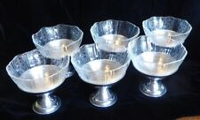Vtg.1950s Metal Dessert Dishes Set Of 6 Ice Cream Sherbet Jello Orig Cut Glass