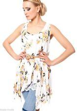 Ärmellose hüftlange Damenblusen, - tops & -shirts ohne Kragen aus Viskose