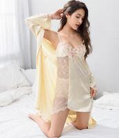 Free ship Light Yellow Pink Silk Blend Women Sleepwear Robe  Gown Sets M-2XL 2c9c2264a