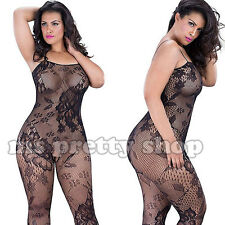 Plus Size 14 Sexy Crotchless Floral Fishnet Bodystocking Lingerie Underwear
