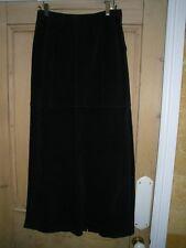 SISLEY lunghezza più lunga, gonna nera, Designer, Taglia 42/UK 10, 100% pelle scamosciata