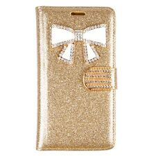 For LG G4  Bling Glitter Case W/Bow and Credit Card Wallet Case  Gold