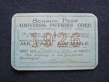 ORIGINAL 1926 UNIVERSAL STUDIO SEASON PASS for Hollywood Columnist JIMMY STARR