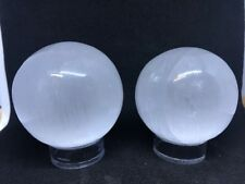 2 x Selenite Spheres - Free Stands - Polished High Grade Selenite From Morocco