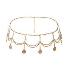 Coins Tassel Waist Belly Chain Adjustable Women Gold Body Waist Chain Metal