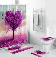 Love Tree Bathroom Rug Set Shower Curtain Bath Mat Non-Slip Toilet Lid Cover