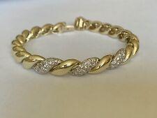 14K Yellow Gold Diamond Bracelet Domed Shrimp Link 6.5 Inch 27 grams .50 TCW VS2