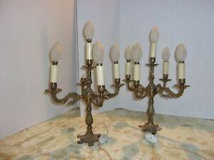 2 Vintage 5 Light Brass Candelabra Candlestick Table Lamp