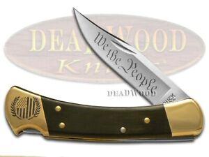 Buck 110 Folding Hunter Knife We The People Ebony Wood 1/500 420HC Stainless